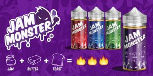 Jam monster e-juice review flavor banner
